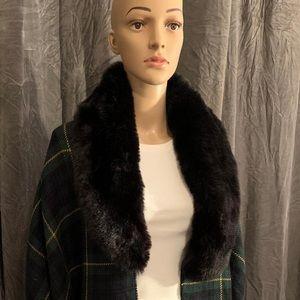 Ralph Lauren holiday fur collar Ruana (blackwatch)